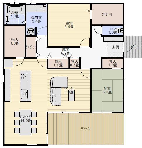 キッチン キッチン 対面カウンター : 参考の間取りは30坪、2LDKの平屋 ...